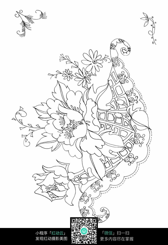 富贵花朵刺绣图案素材
