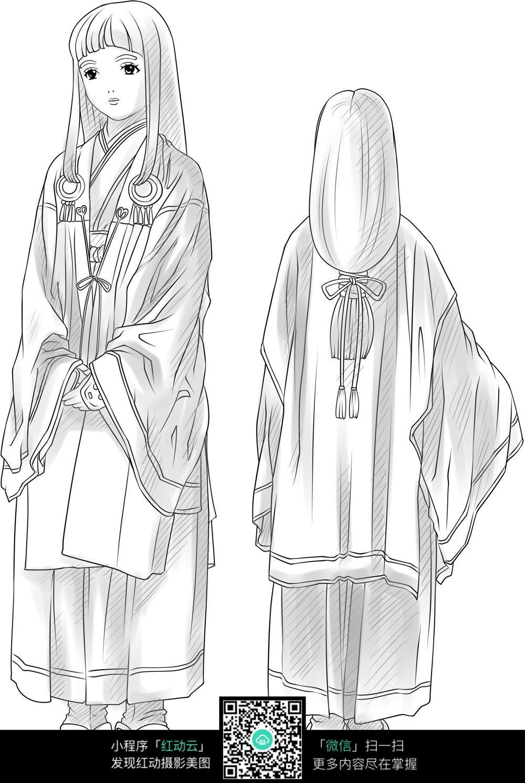 古代日本女子正背面人物线稿jpg图片