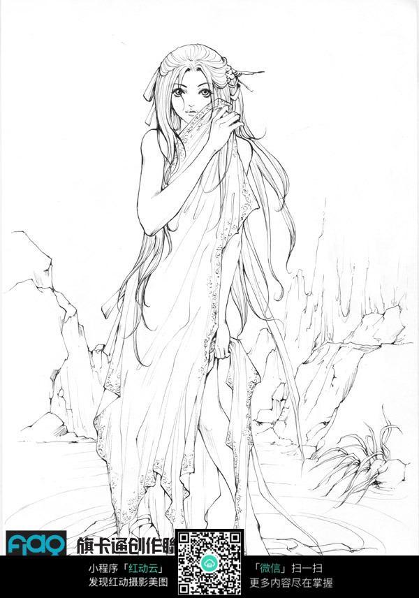 古装美女卡通线描图片