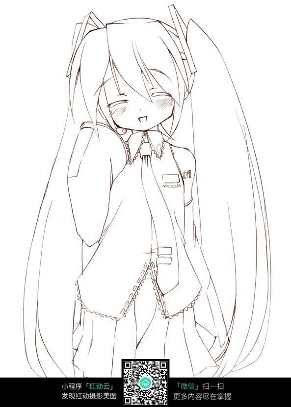 害羞的女孩卡通手绘线稿