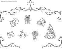 黑白礼物花纹边框画