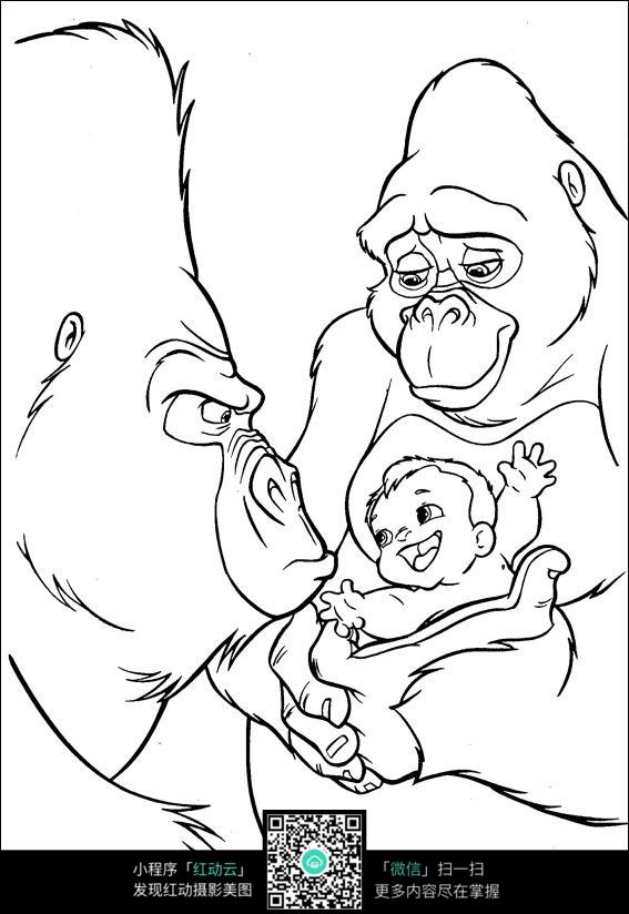 黑白世界 卡通  漫画  手绘 素材 速写 涂鸦 线画 线描 写生 黑猩猩