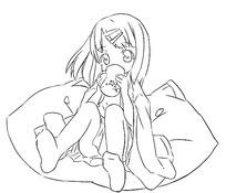 喝水的女孩卡通手绘线稿图片