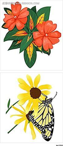 红花菊花蝴蝶手绘图形图标
