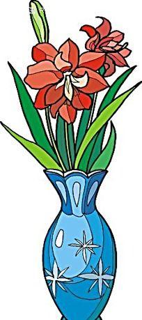 红色小花手绘线描画
