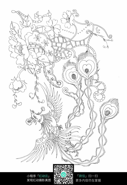 花朵凤凰刺绣图案素材