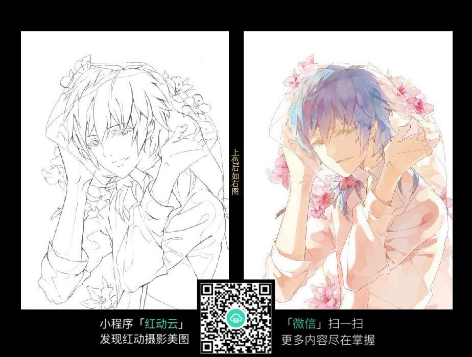 花朵和少年卡通手绘线稿图片
