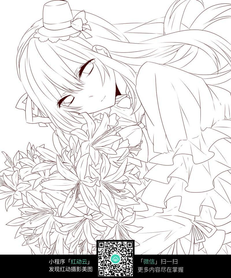 花朵和少女卡通手绘线稿_人物卡通图片