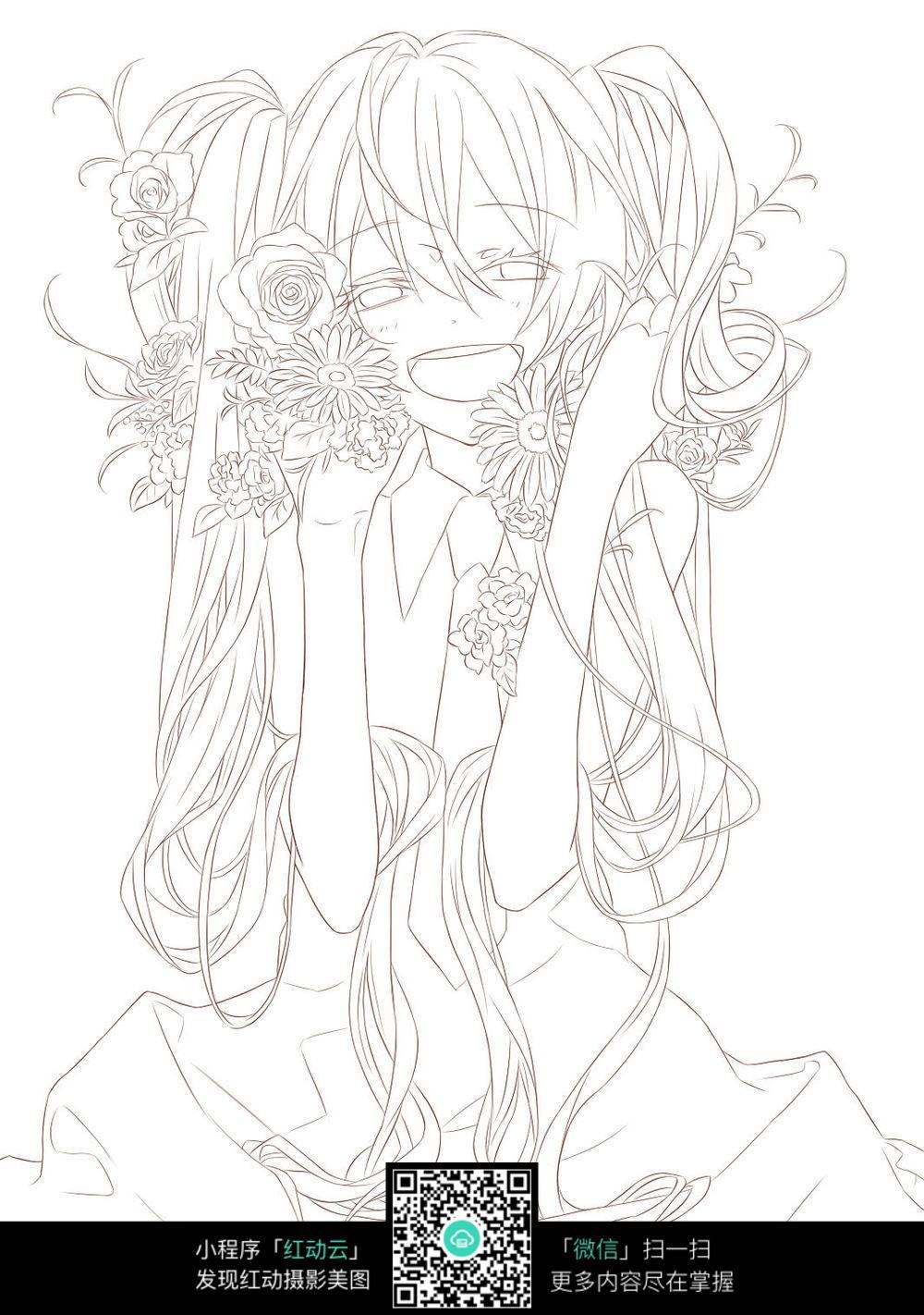 花朵和少女卡通手绘线稿