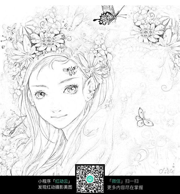 古装美女与和尚卡通手绘线稿_人物卡通图片_红动手机版