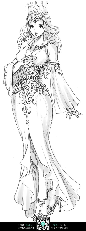 皇冠美女卡通手绘线稿图片