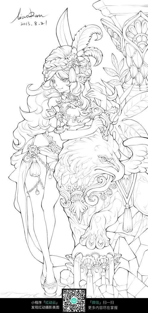 花仙子花朵女孩线描