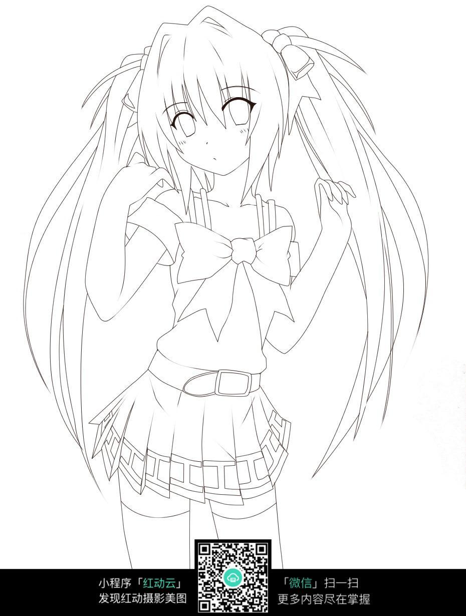 蝴蝶结女孩卡通手绘线稿