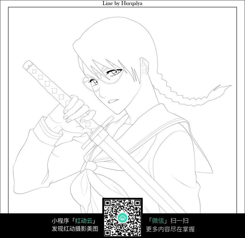 剑和少女卡通手绘线稿
