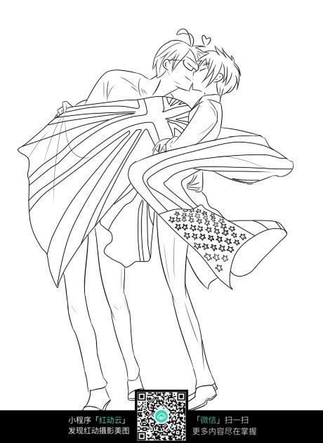 接吻的情侣卡通手绘线稿