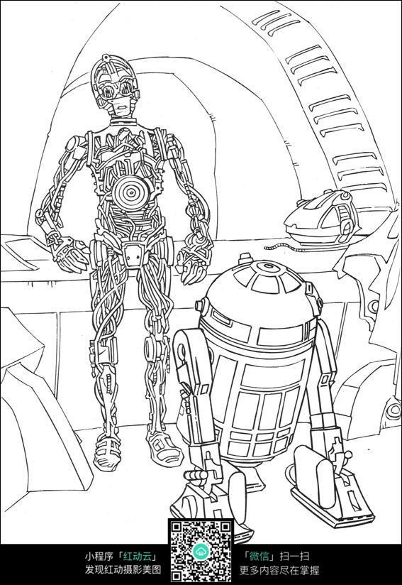 免费素材 图片素材 漫画插画 人物卡通 机器人线描