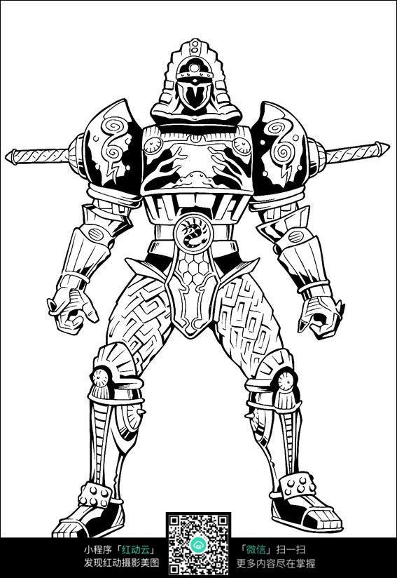 机器人游戏人物线描