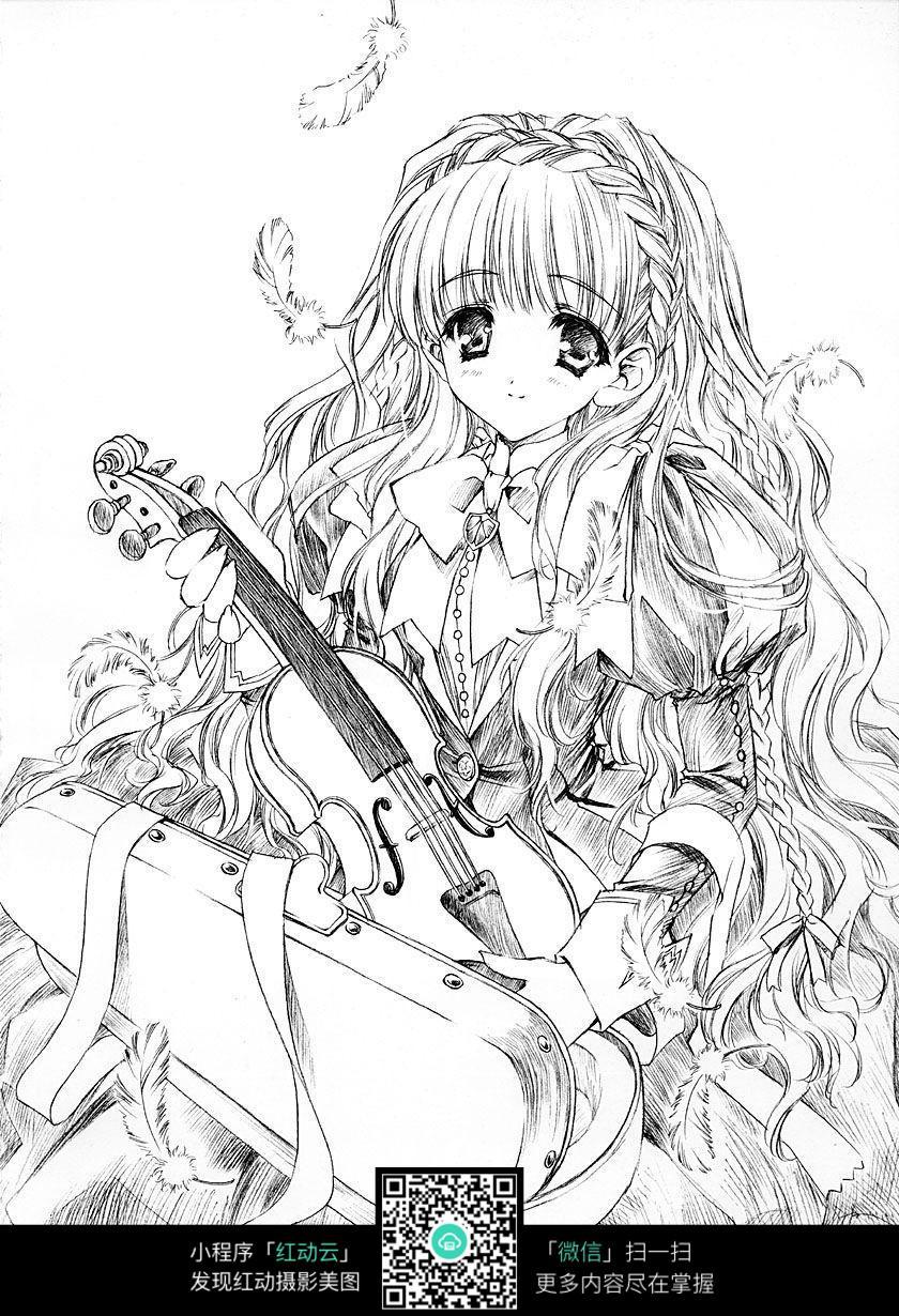 吉他和女孩卡通手绘线稿