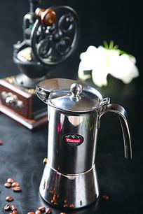 咖啡壶咖啡豆高清图片