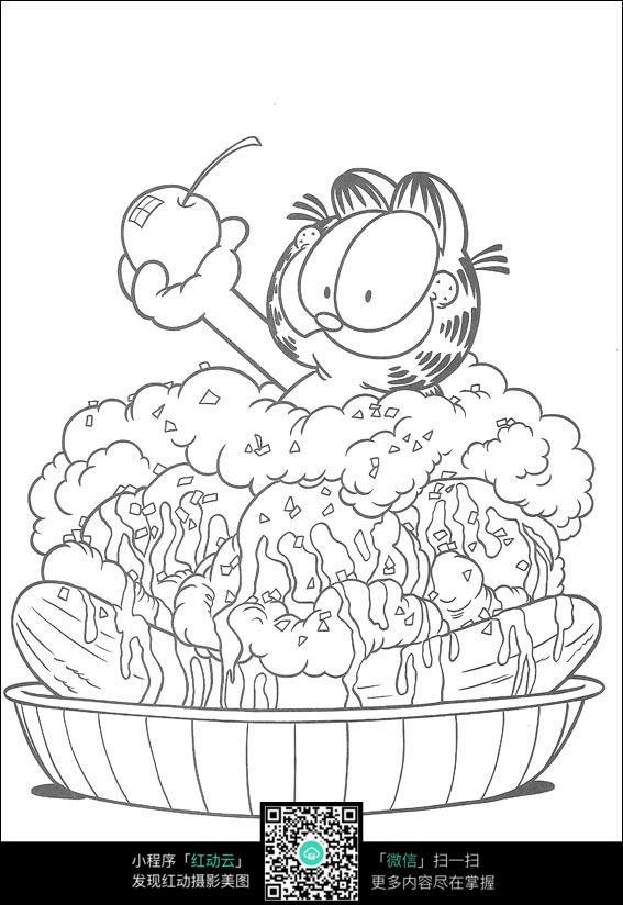 咖啡猫吃苹果卡通手绘填色线稿jpg