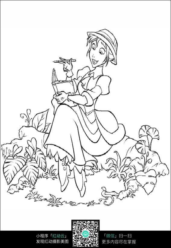 看书的少女卡通手绘线稿图片