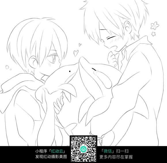 卡通爱情海豚手绘线稿图片