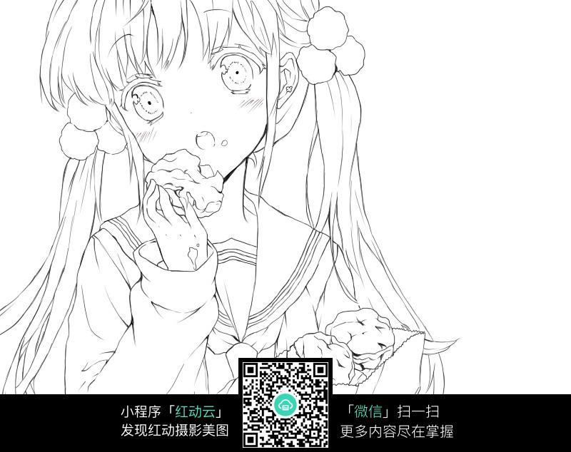 卡通吃爆米花的小女孩