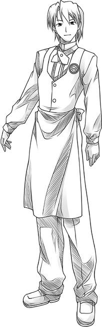 卡通美男手绘线稿图片