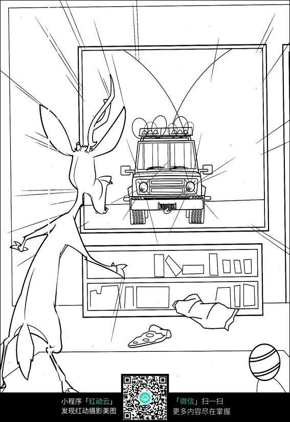 图片素材 漫画插画 人物卡通 卡通从电视里面跑出来的汽车手绘线稿
