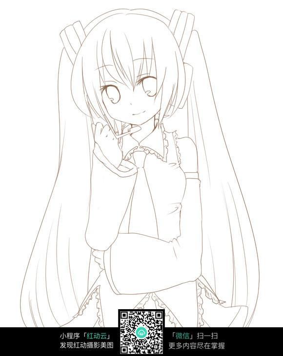 卡通戴耳机的女孩_人物卡通图片