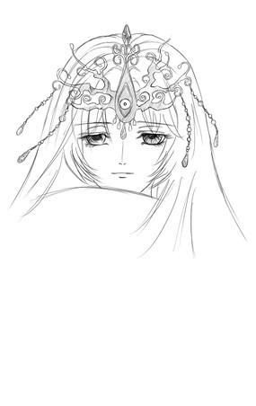 卡通带皇冠的美女手绘线稿图片