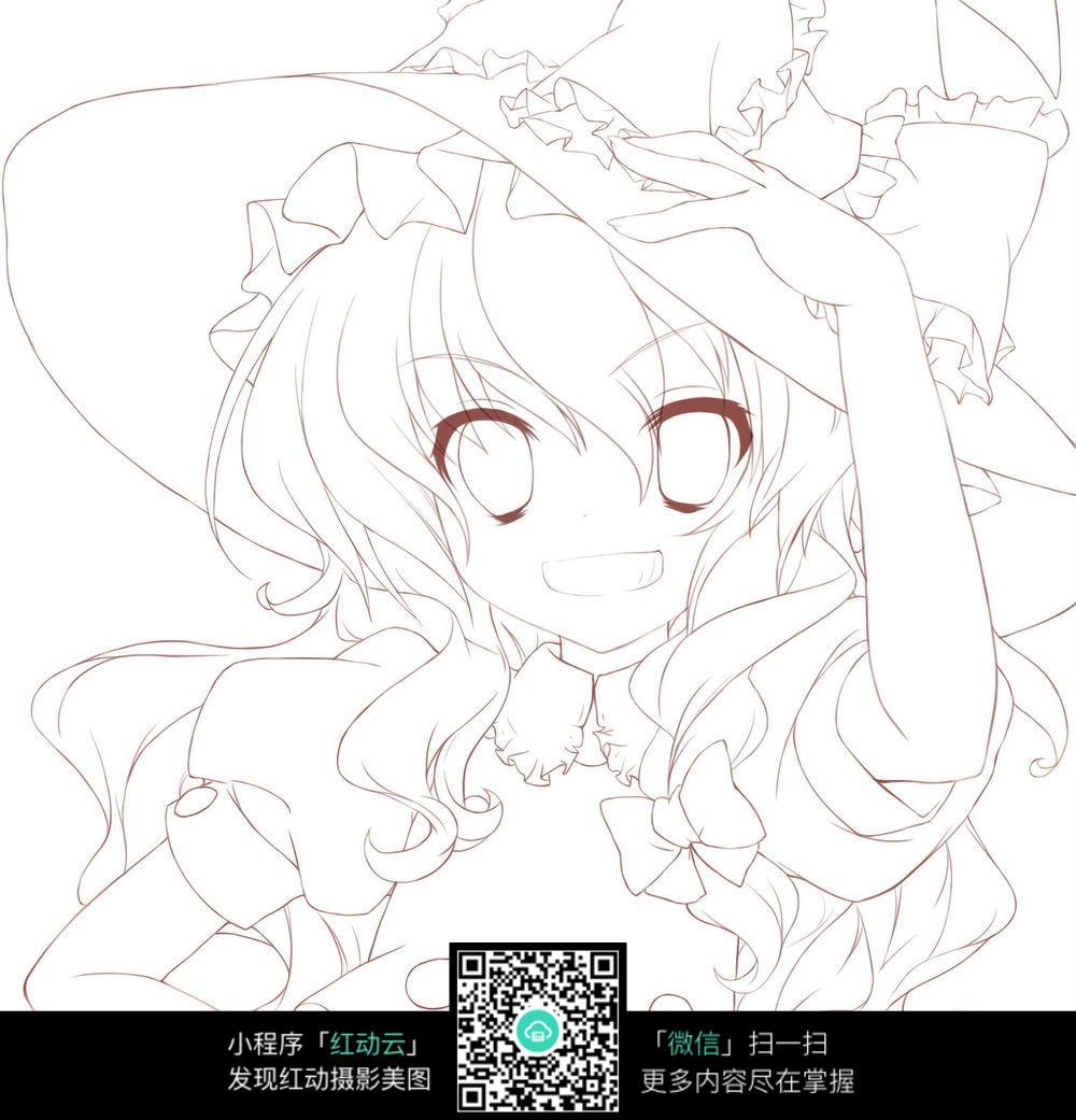 卡通戴礼帽的女孩线描