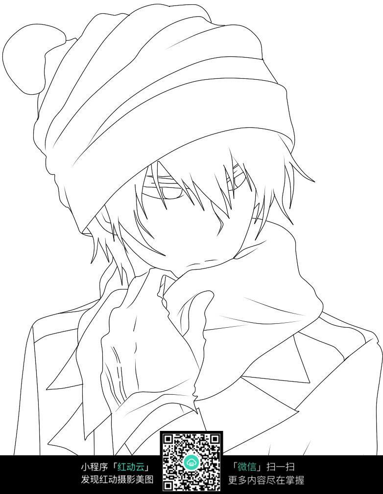 卡通戴帽子围围巾的美男手绘线稿图片