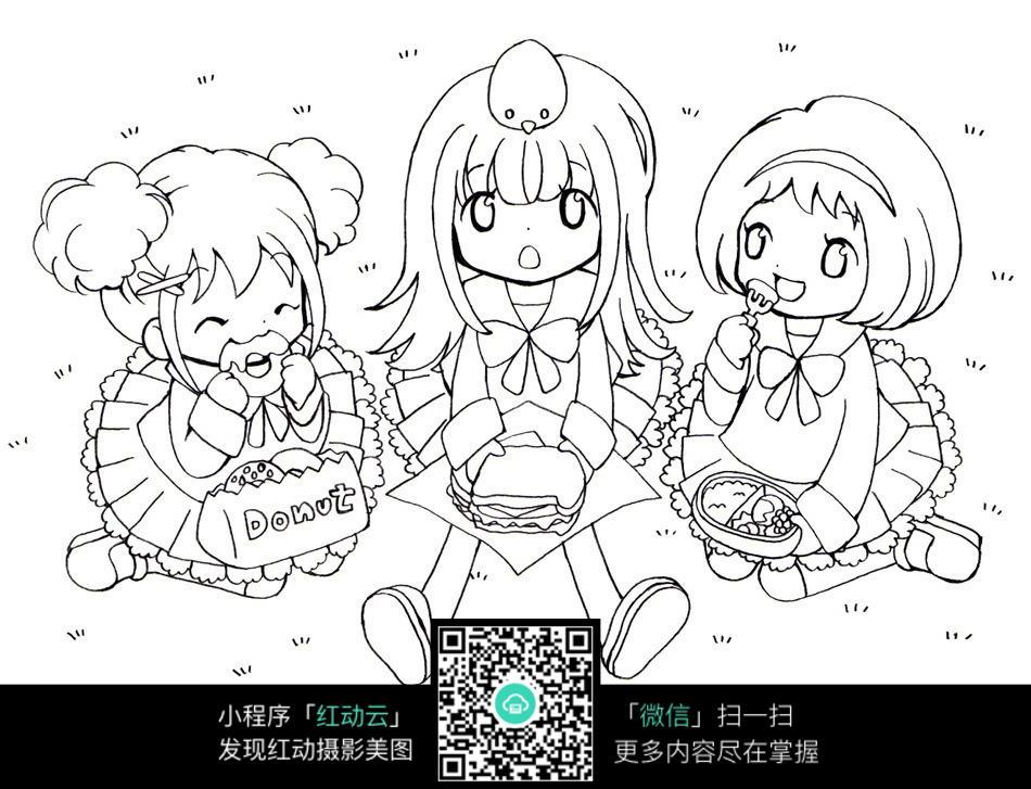 卡通动漫三个女孩线描