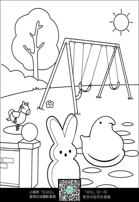 卡通动物手绘线稿