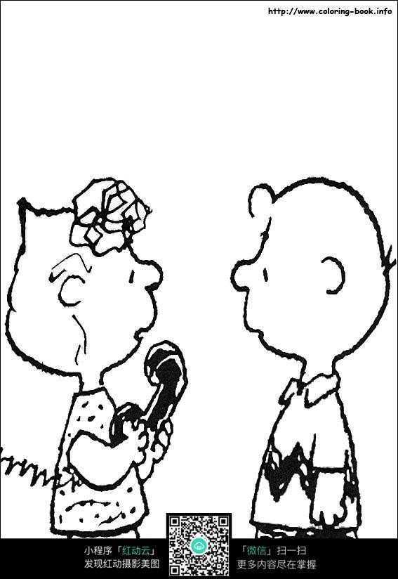 免费素材 图片素材 漫画插画 人物卡通 卡通儿童和妈妈接电话