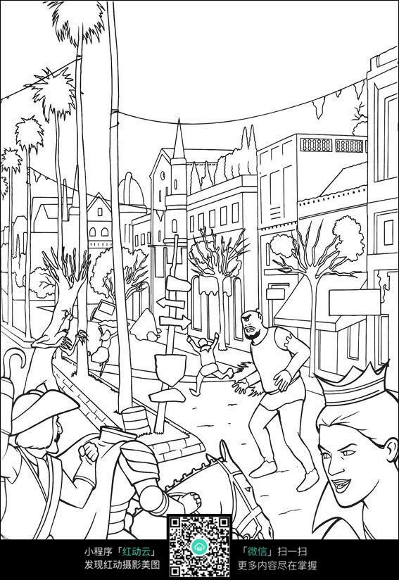 卡通繁忙的街景填色线稿图片图片