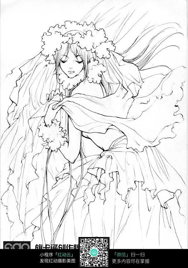 卡通花仙子美女手绘线稿图片