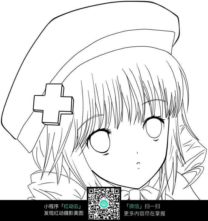 钢笔画  漫画手绘 素材 速写 涂鸦 写生  上色练习  卡通护士女孩