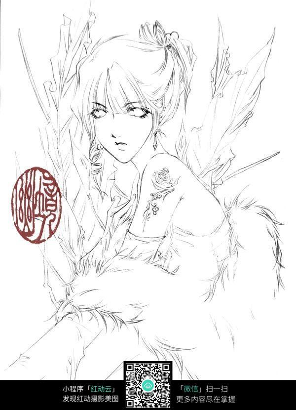 卡通狐妖美女线描