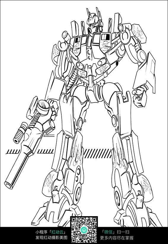 免费素材 图片素材 漫画插画 人物卡通 卡通机器人变形金刚线稿