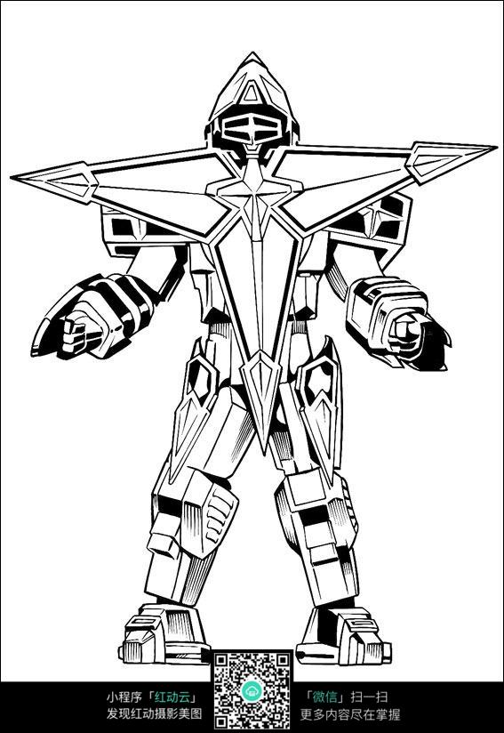动漫机器人线描_人物卡通图片_红动手机版