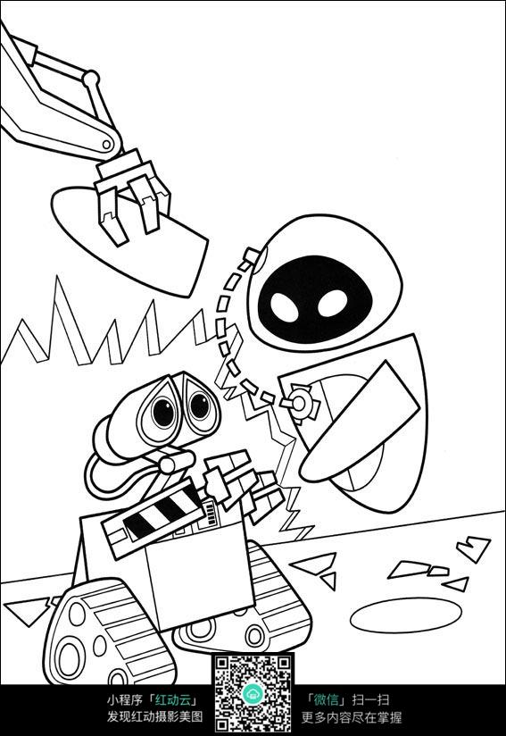 卡通机器人线描_人物卡通图片