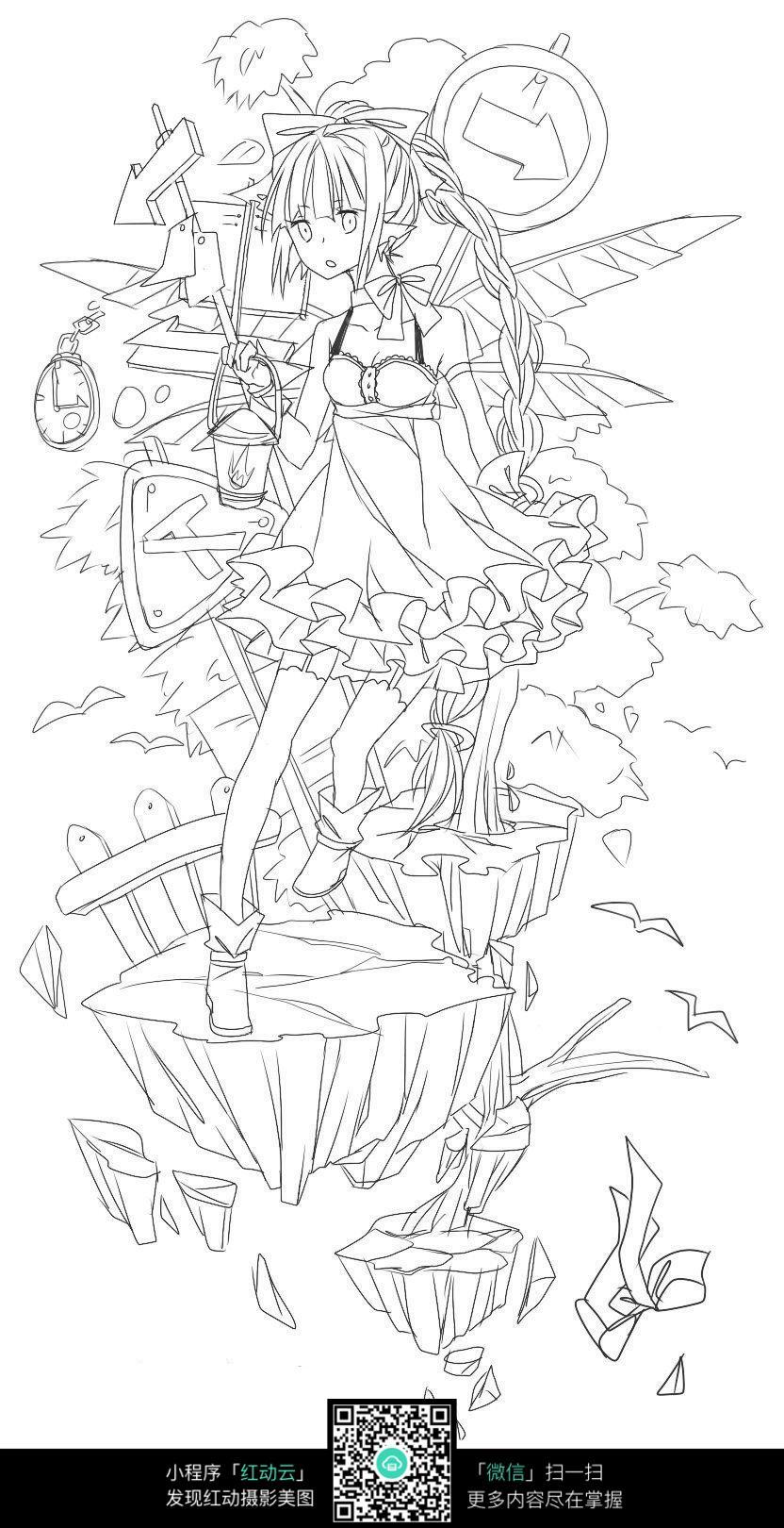 卡通可爱女孩线描_人物卡通图片