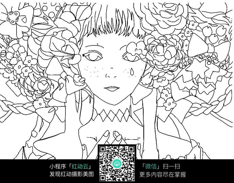 卡通哭泣的花仙子人物线描