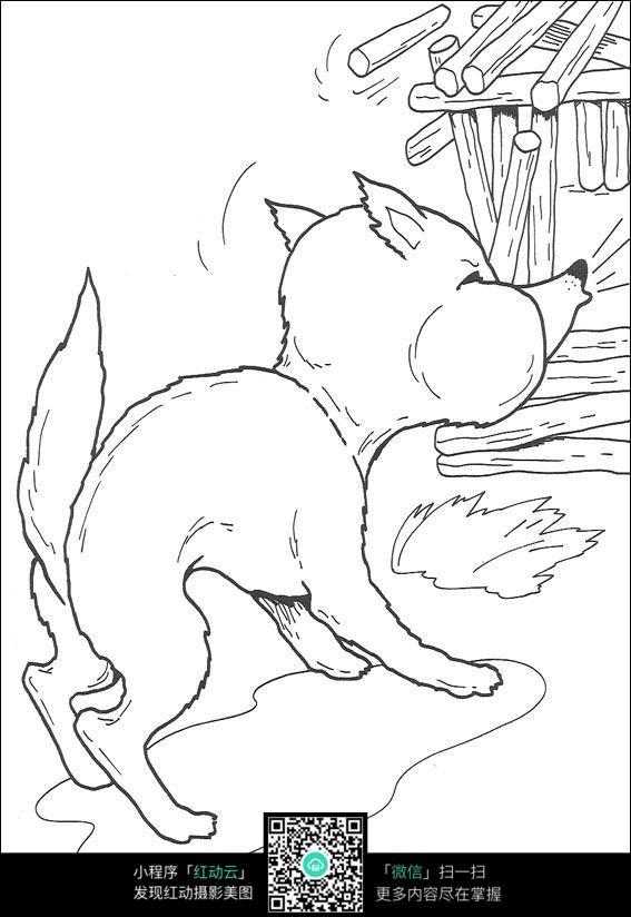 免费素材 图片素材 漫画插画 人物卡通 卡通狼狗动物线描  请您分享