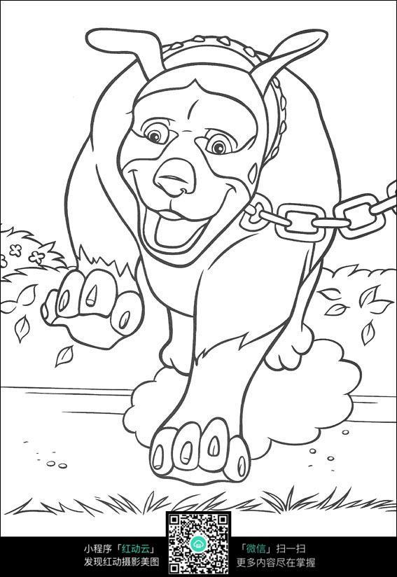 卡通老牛被铁链拴着图片免费下载 红动网图片