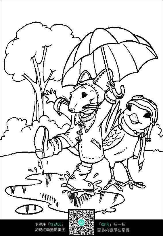 卡通老鼠和小鸡