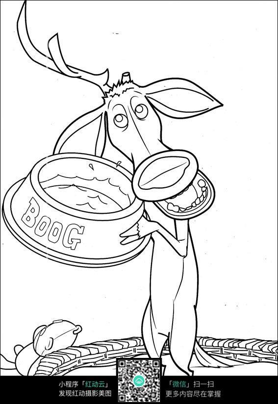 免费素材 图片素材 漫画插画 人物卡通 卡通驴手绘线稿图片  请您分享