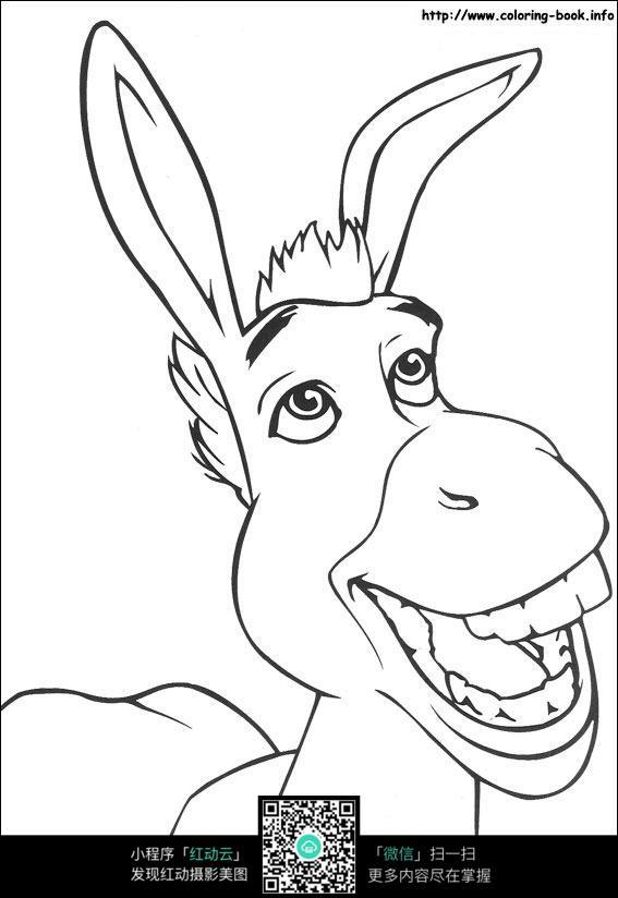 人牵驴的手绘图